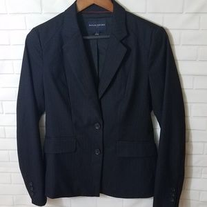Banana Republic Womens Blazer Sz 6 Pinstripe Black